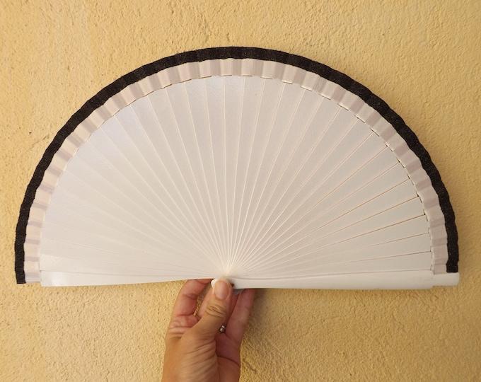 Std White with Black Glitter Hand Fan