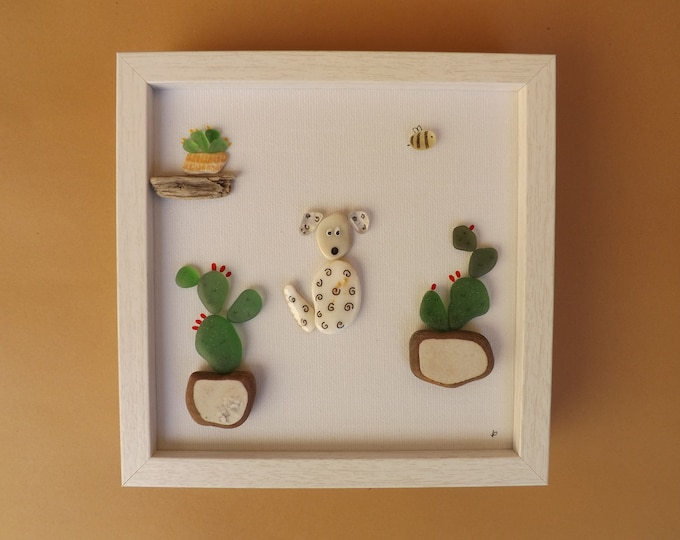 Cactus and Dog Sea Glass Art Framed READY
