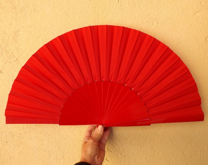 MTO XL Supersize Bright Red Wooden Hand Fan