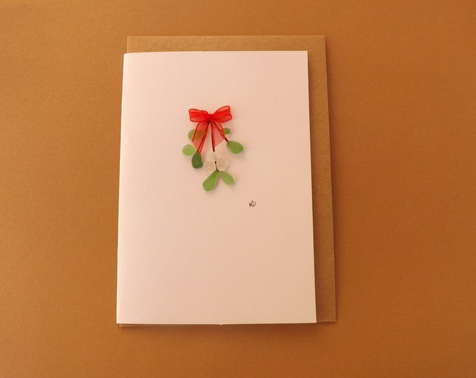Pebble Art Card Sea Glass MISTLETOE