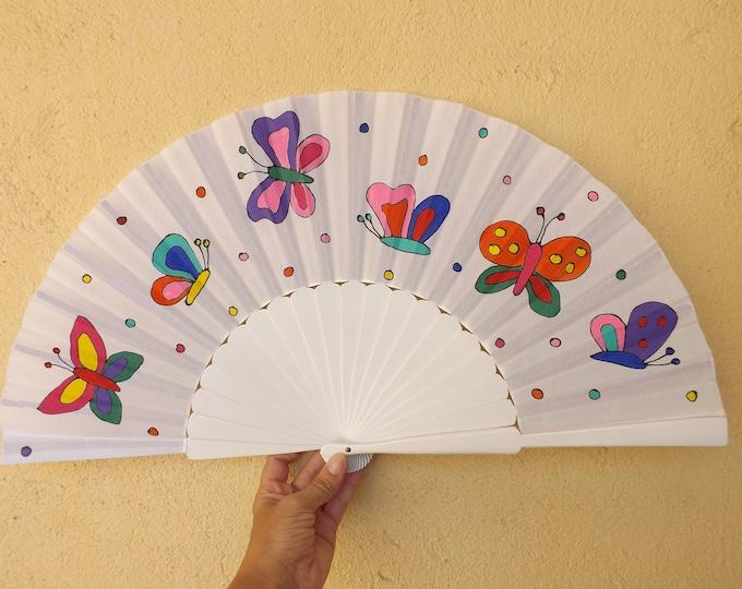XL White Butterfly Hand Fan