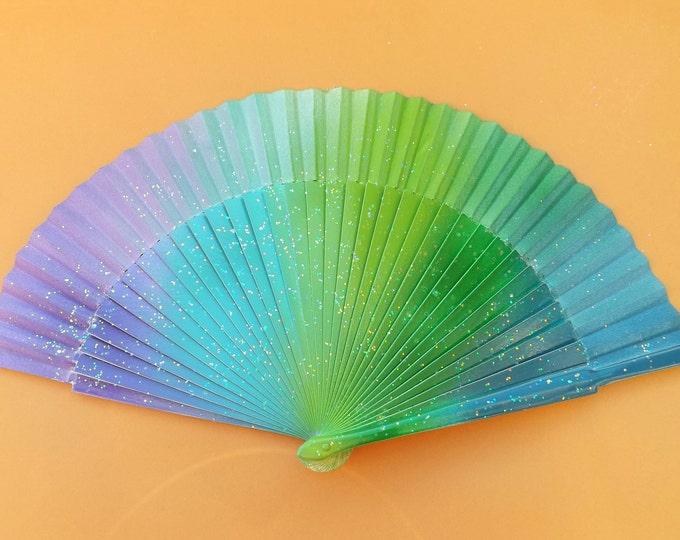 MTO Std Mermaid Glitter Rainbow Wooden Hand Fan