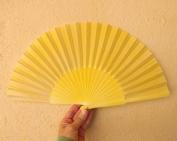 MTO Std Bright Candy Yellow Wooden Hand Fan