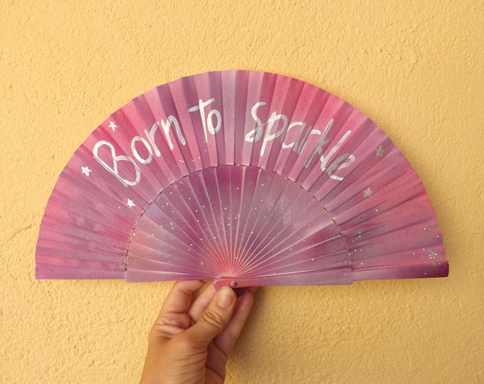 MTO Small Born To Sparkle Magical Purple Pink Glitter Wooden Hand Fan