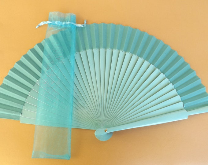 1 - 20 Aqua Organza Hand Fan Cover WITH or WITHOUT Any Color Standard Hand Fan