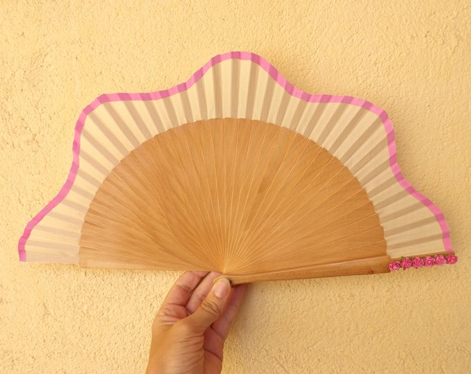 Std Natural Pink Roses Hand Fan