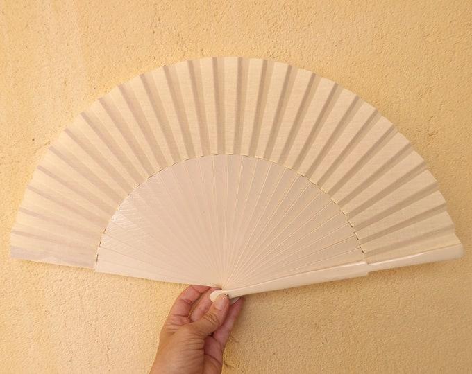 MTO L Large Cream Wooden Hand Fan