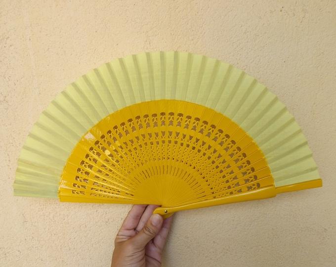 Std Yellow Fret Wooden Hand Fan