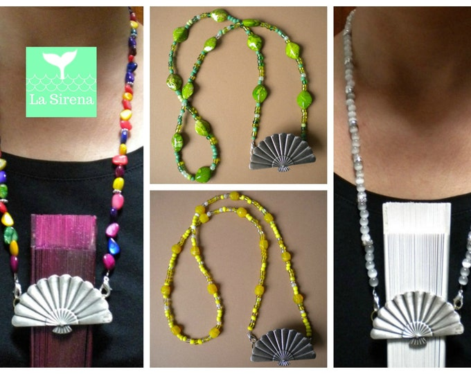Beaded Hand Fan Necklace Holder