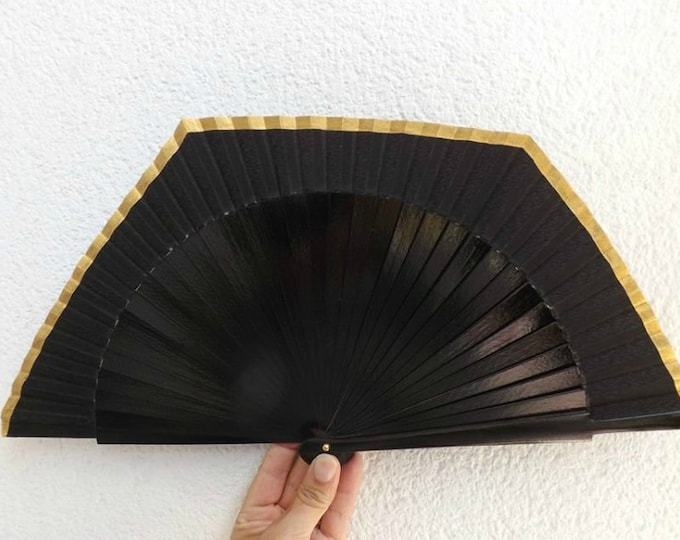 MTO Std Black and Gold Square Hand Fan