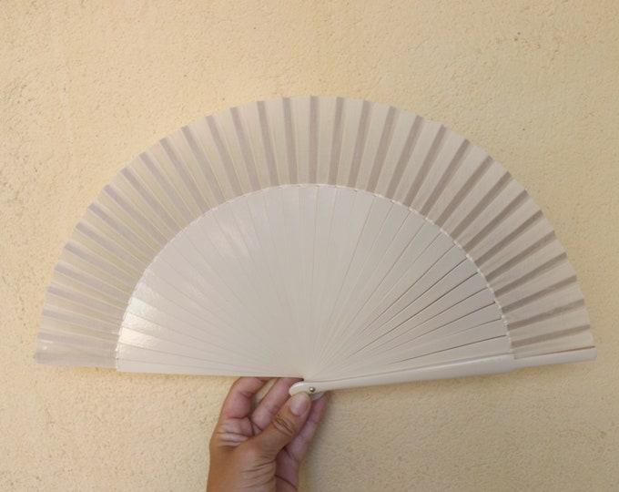 MTO Std Cream Wooden Hand Fan