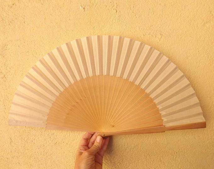 MTO L Large Pale Wood Wooden Hand Fan