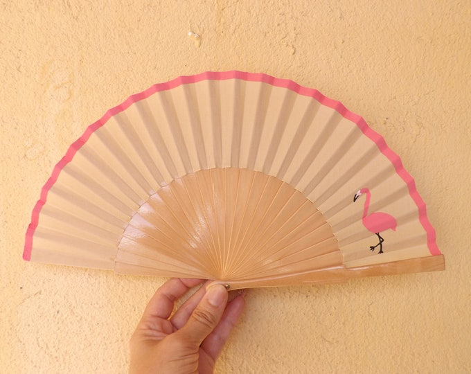 MTO Small Natural Flamingo Pink Wooden Hand Fan
