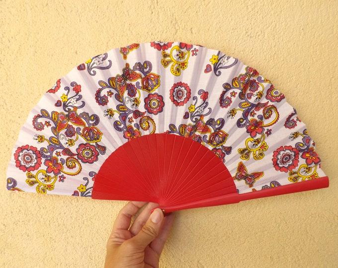Std Pink Paisley Hand Fan