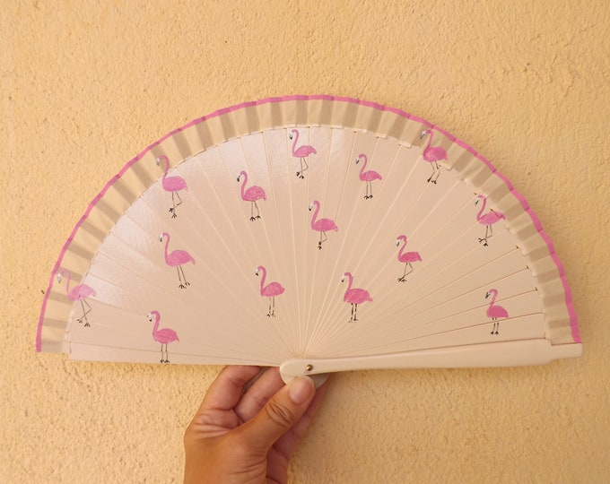 MTO Small Cream Flamingo Pink Wooden Hand Fan