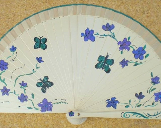MTO Small Teal Purple Flowers Butterfly Wooden Hand Fan