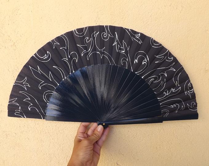 MTO Large Black Silver Damask Wooden Hand Fan