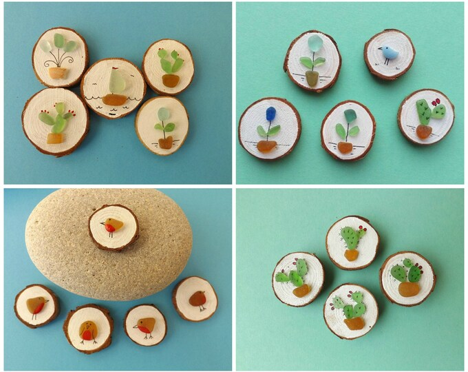 ANY DESIGN Miniature Wood Slice Magnet Sea Glass Art