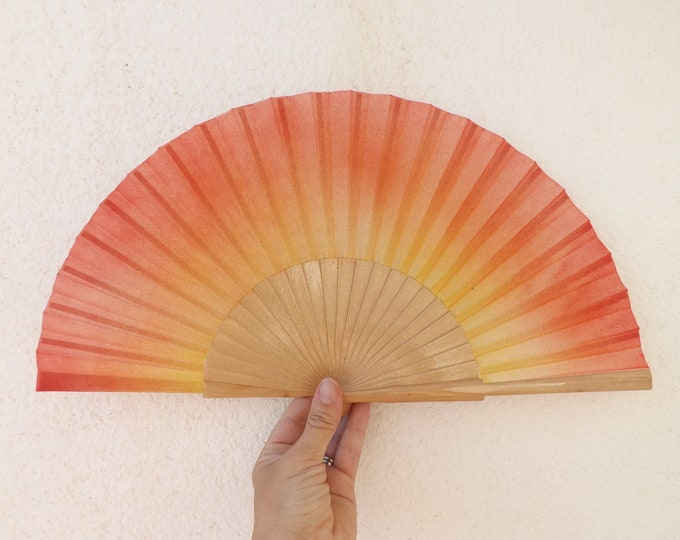 MTO Std Fire Colors on Natural Hand Fan