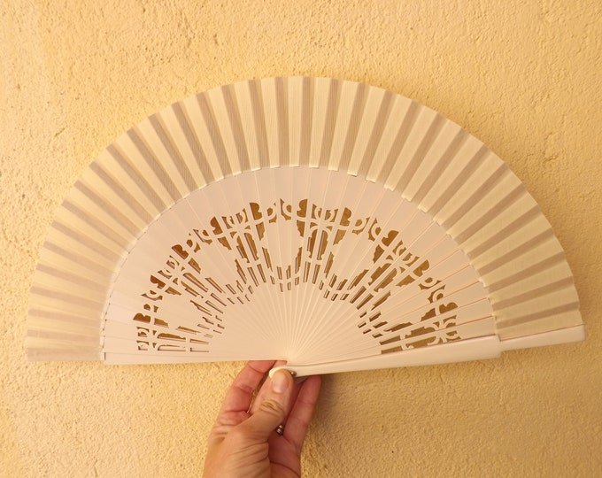 Std Cream Fret Wooden Hand Fan