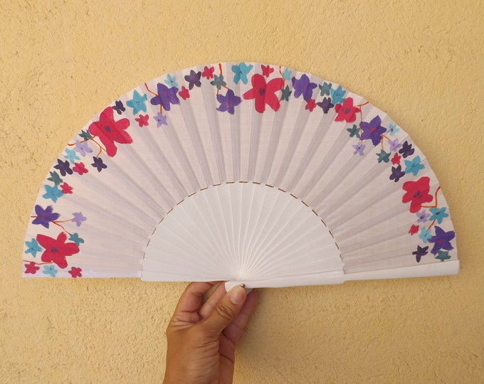 MTO Std Pink and Purple Floral Border Wood Hand Fan