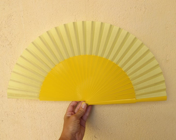 MTO L Large Yellow Wooden Hand Fan