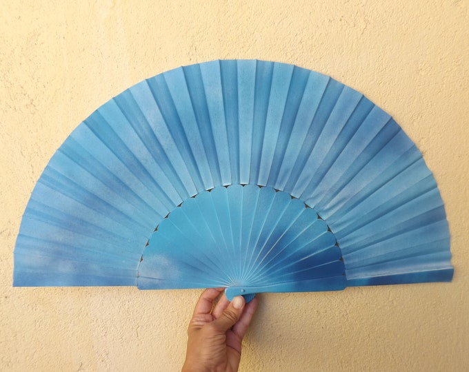 MTO XL Supersize Beautiful Blues Color Hand Fan