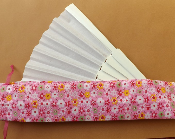 Little Flowers Pink Fabric Hand Fan Bag WITH or WITHOUT Any Color XL Hand Fan