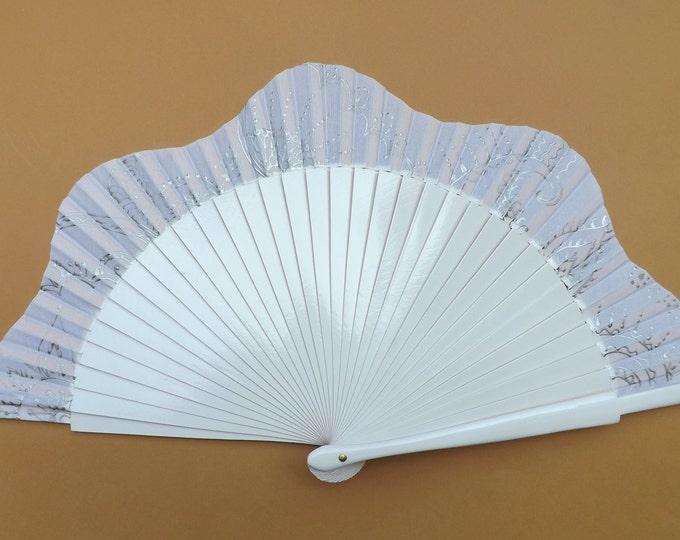 MTO Std Ornate White with Silver Design Wooden Hand Fan