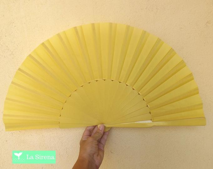 MTO XL Supersize Yellow Wooden Hand Fan