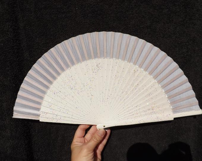 MTO Std Irridescent Glitter Sequin Bridal White Wooden Hand Fan