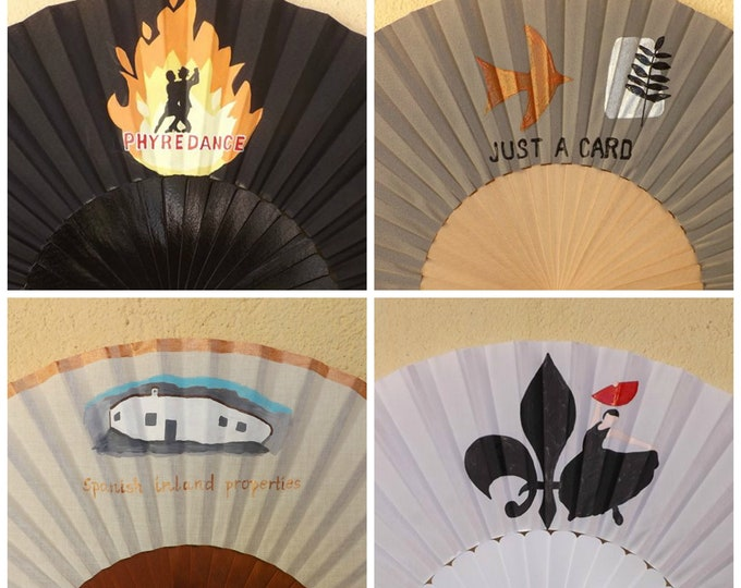 Std Hand Fan with Business Logo or Design Custom Painted