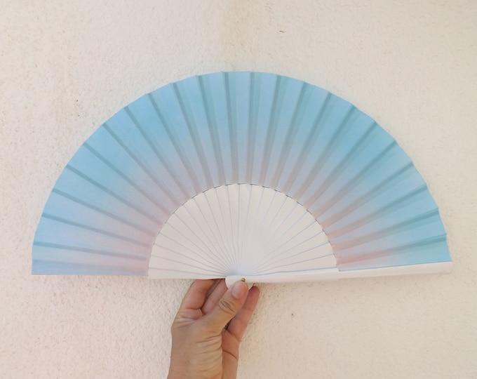 MTO Std Subtle Blue Pink on White Hand Fan