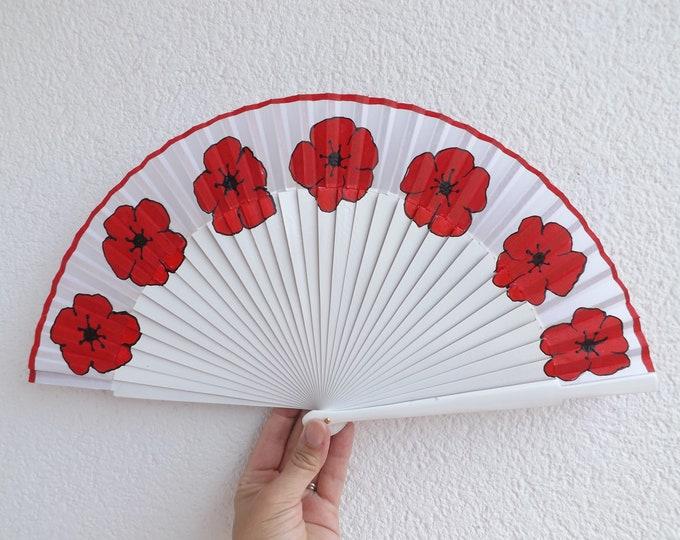 MTO Std Poppy on White Wood Hand Fan