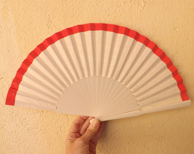 Std Ivory and Coral Fret Hand Fan