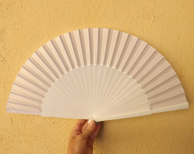 MTO L Large White Wooden Hand Fan