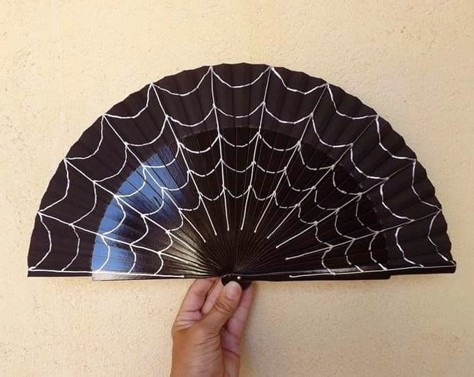 MTO Std Black Spider Web Hand Fan