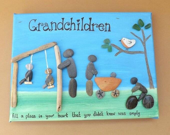 MTO Pebble Art Family Scene Canvas