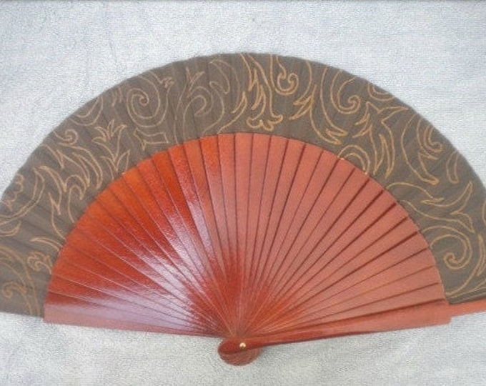 MTO Std Brown and Bronze Damask Wooden Hand Fan