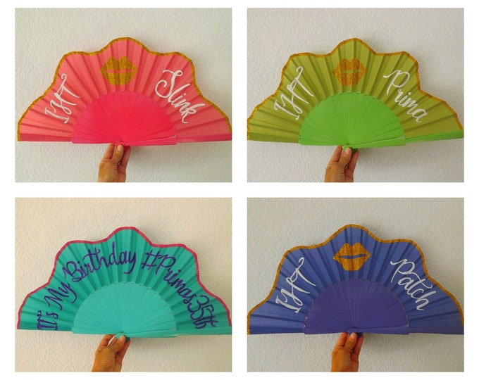 XL Supersize Fun Flamboyant Glitter Custom Hand Fan