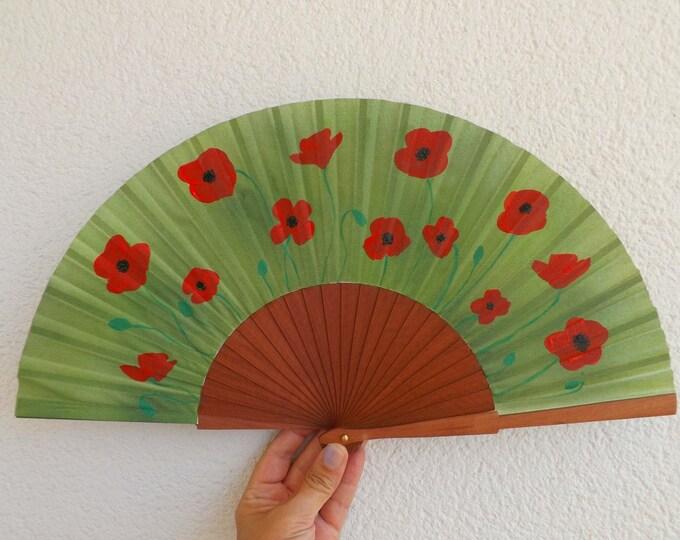 MTO Std Poppy Poppies on Pear Wood Hand Fan
