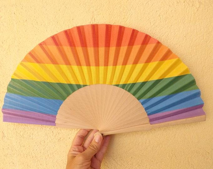 Std Rainbow Pride Hand Fan ~ Wood Handheld Fan - Paint Fan - Wedding Fan -  Spanish Fan - Folding Fan - Wood Fabric ~ Ready to Ship