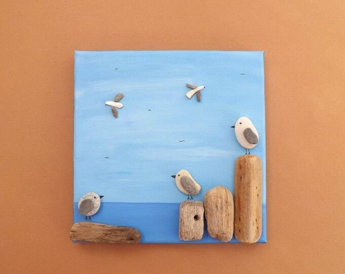 MTO Pebble Art Sea Gull Painting