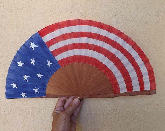 MTO Std American Flag Wood Hand Fan