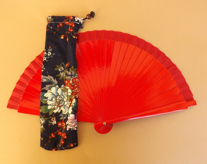 Blue Floral Design Hand Fan Cover WITH or WITHOUT Any Color Small Hand Fan