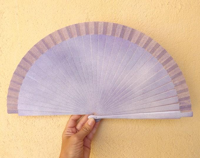 Std Lilac Glitter Hand Fan ~ Wood Handheld Fan - Paint Fan - Wedding Fan -  Spanish Fan - Folding Fan - Wood Fabric ~ Ready to Ship
