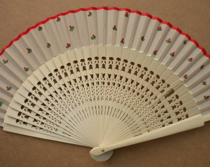 MTO Std Cream Red Rose Bud Hand Fan