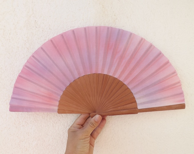 MTO Std Pink Purple on Pear Wood Hand Fan