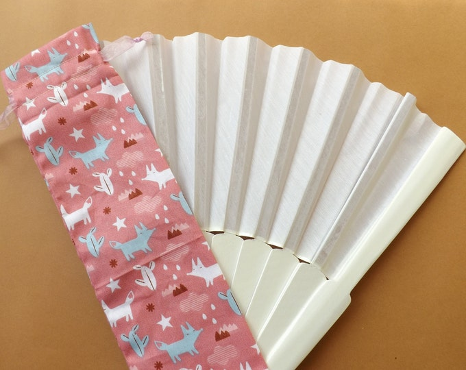 Salmon Pink Fox Fabric Hand Fan Bag WITH or WITHOUT Any Color XL Hand Fan