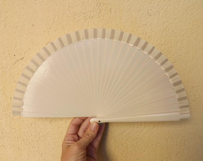 Small Cream Wooden Hand Fan